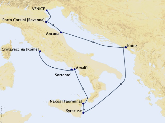 9-night Italy Intensive Voyage Map