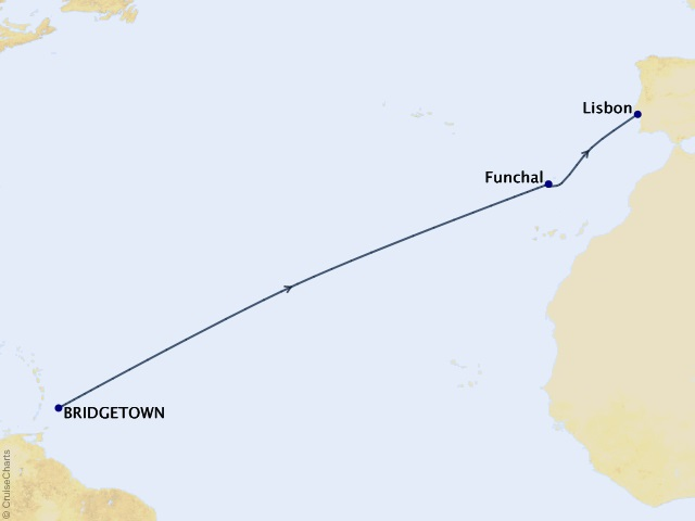 11-night Transoceanic Cruise Map