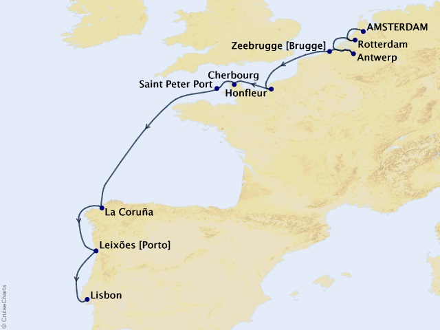 11-night Culture and Cuisine Voyage Map