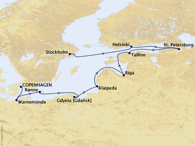 10-night Baltic Legacies Voyage Map
