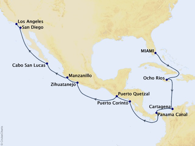 16-night Passage Between Two Seas Cruise Map