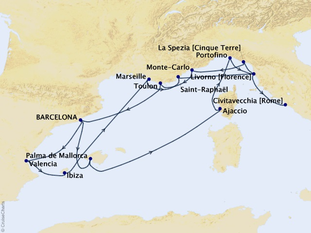 14-night Coastal Quest Voyage Itinerary Map