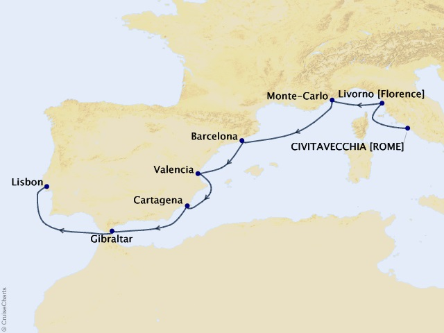 9-night Jewels of the Med Voyage Map