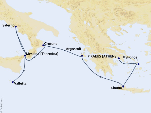 7-night Grecian Wanderlust Cruise Map