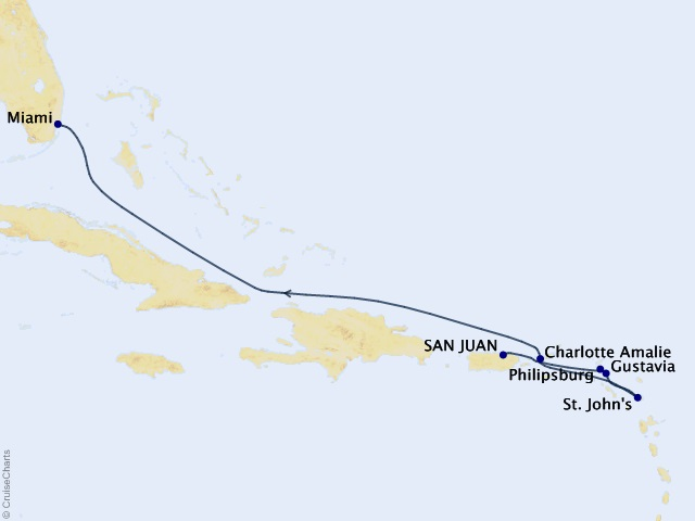 7-night Caribbean Kaleidoscope Cruise Itinerary Map