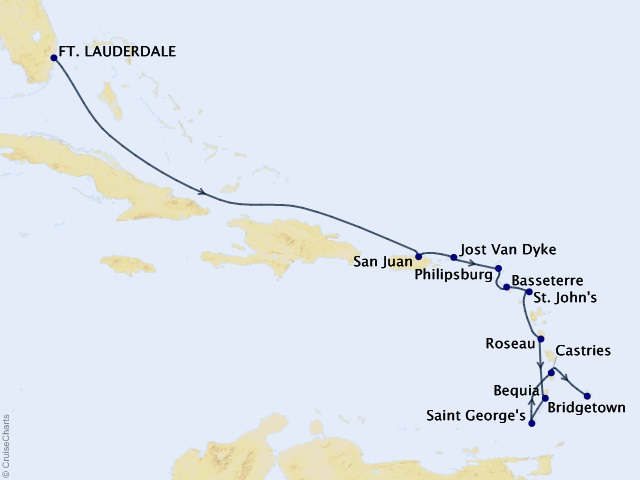 12-night Eastern and Southern Caribbean Cruise Map