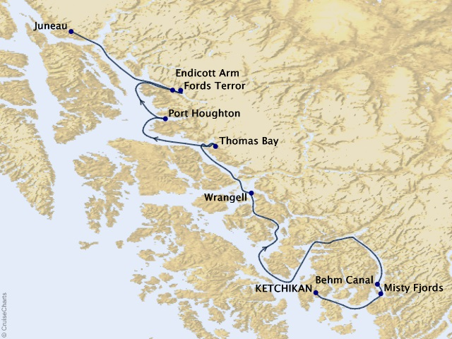 7-night Alaska Fjords and Glaciers Cruise Map