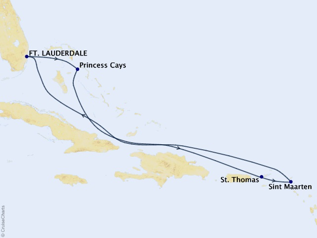 7-night Eastern Caribbean Cruise Itinerary Map