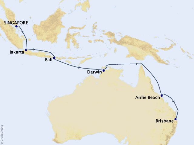 13-night Asia & Australia Cruise Map