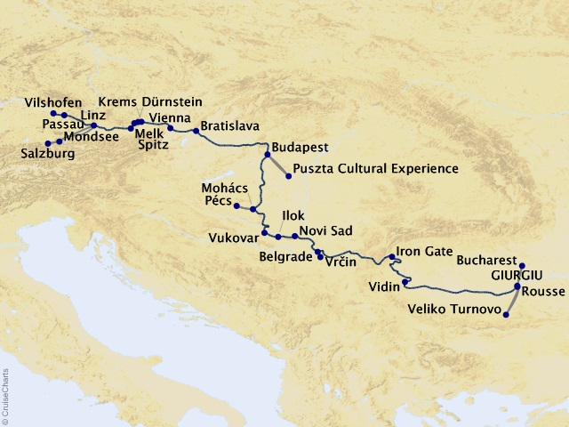 14-night Grand Danube Cruise Map