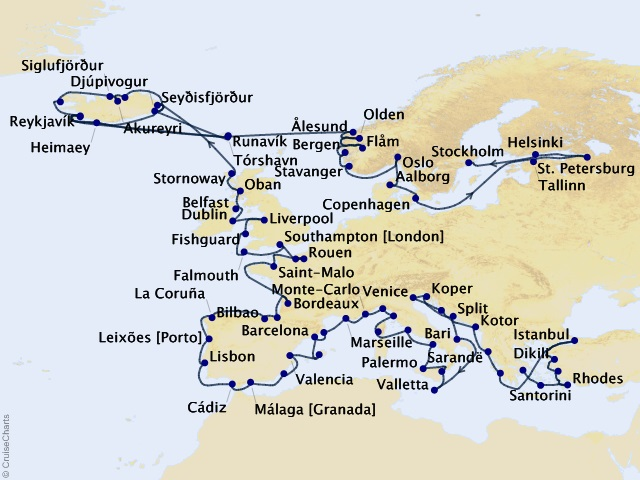 90-night Grand Europe Voyage Map