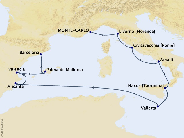 10-night Classical Empires Voyage Map