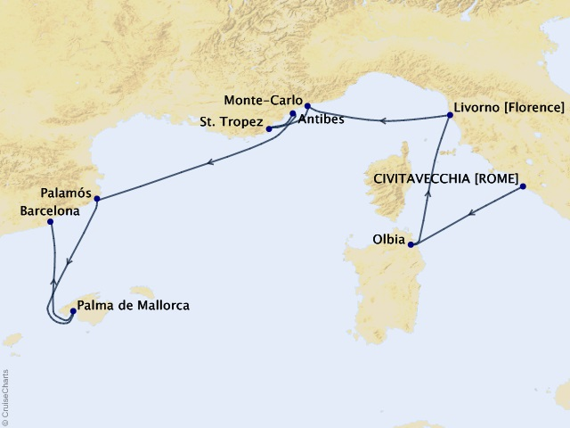 8-night Glamorous Summer Cruise Map