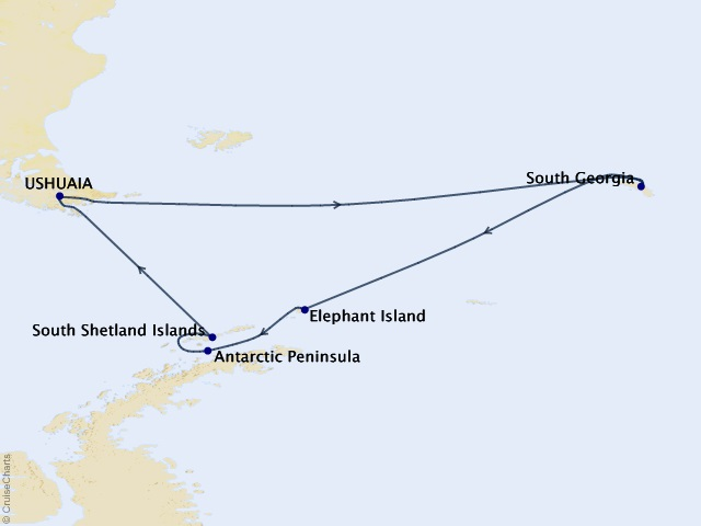 15-night Antarctica Expedition Cruise Map