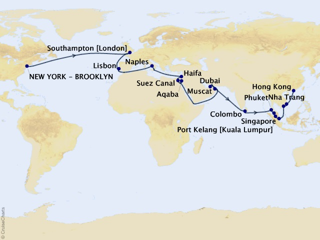 46-night World Segment -New York to Hong Kong Cruise Map
