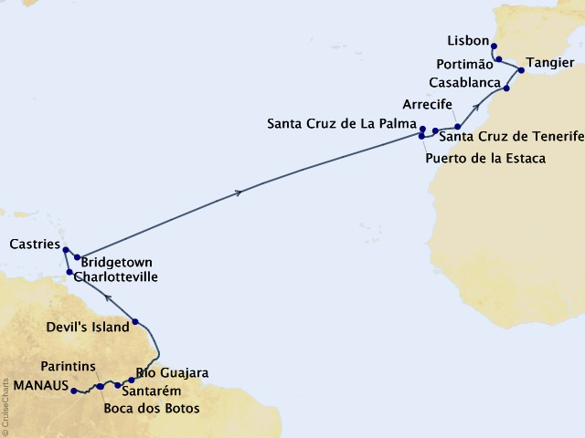 Amazon & Atlantic Isles Cruise Map