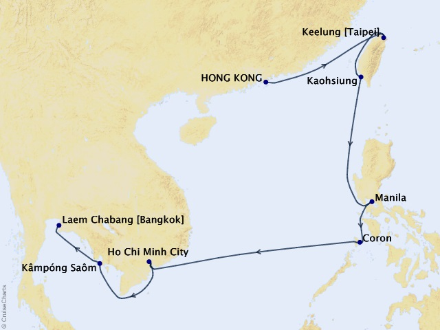14-night Asia Cruise Map