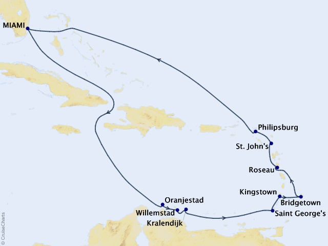 14-night Caribbean Mardi Gras Cruise Map