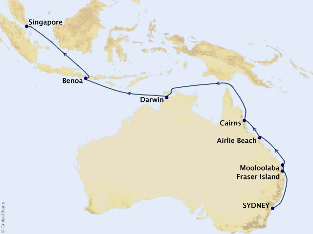 18-night Australia Intensive Voyage Map