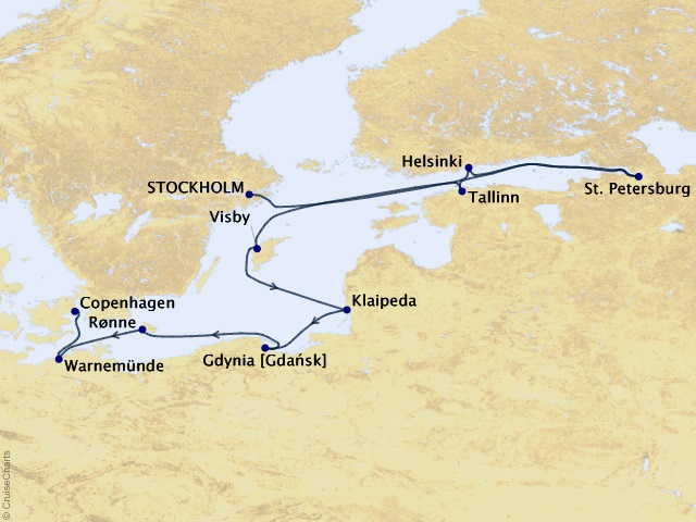 10-night Northern Gatewayss Voyage Map