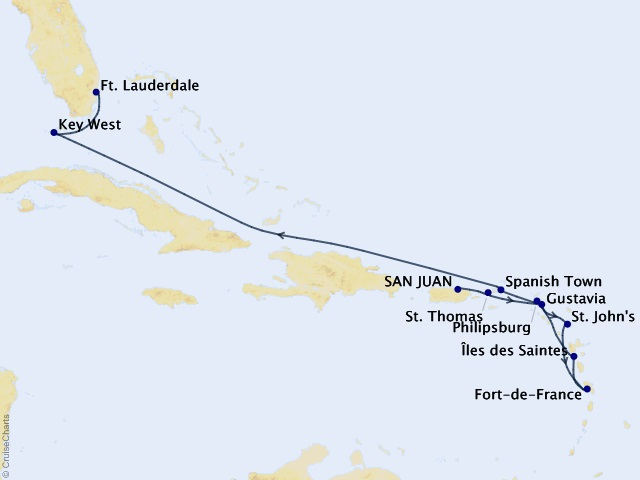 11-night Caribbean Cruise Map