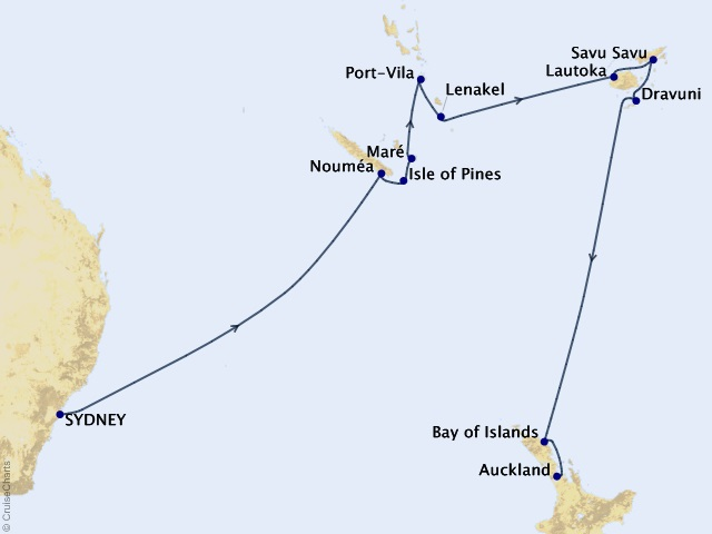 15-night South Pacific Cruise Map