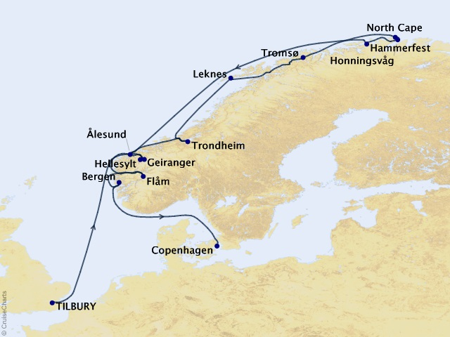 Northern Europe & British Isles  Cruise Map