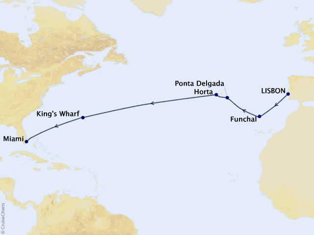 14-night Grand Atlantic & Azores Cruise Map