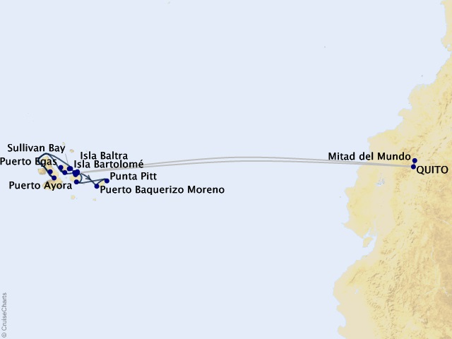 10-night Quito and Galápagos Inner Loop Cruisetour Map