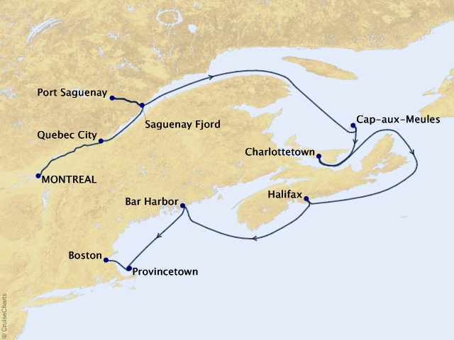 11-night Canadian Maritimes & New England Cruise Map