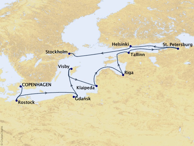 10-night Northern Realms Voyage Map