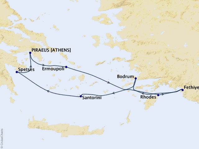 7-night Aegean & Turkish Treasures Cruise Map