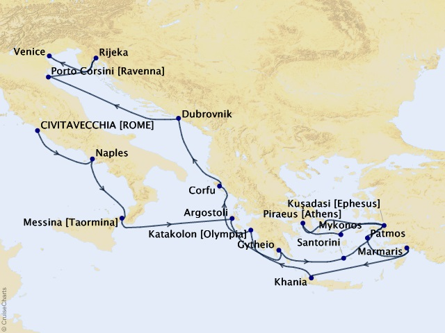19-night Southern Europe Quest Voyage Map
