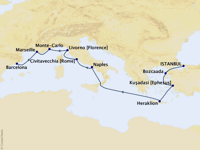 10-night Mediterranean Fusion Voyage Map