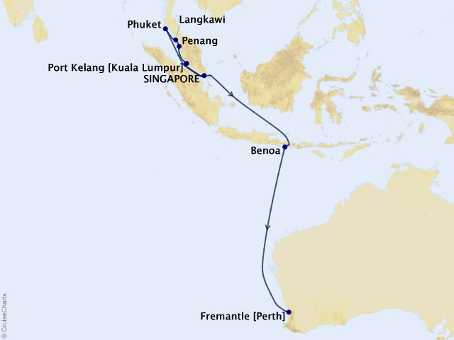 12-night Treasures of Southeast Asia Cruise Itinerary Map