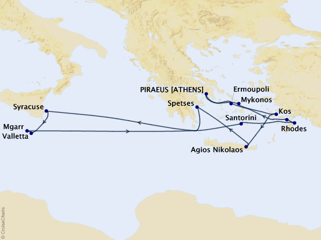 14-night Greek Islands Odyssey Cruise Map