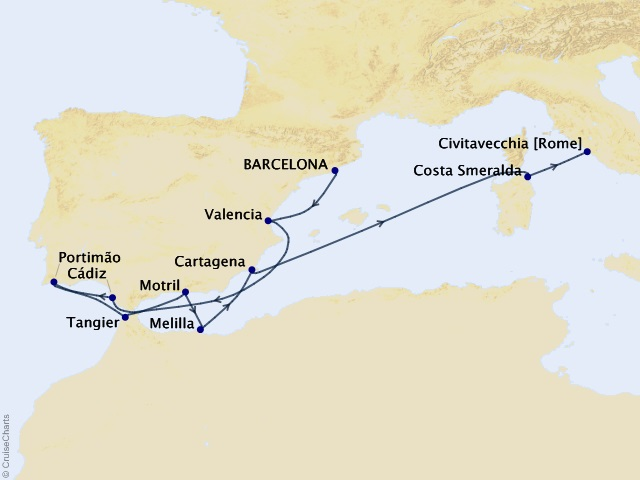 11-night Morocco and Spanish Magic Cruise Map
