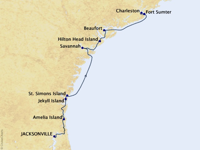 7-night Historic South and Golden Isles Cruise Map