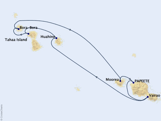 7-night Society Islands & Tahiti Iti Cruise Map