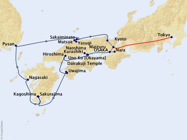 13-night Cruising the Land of the Rising Sun – Northbound Cruise/Land Package Map