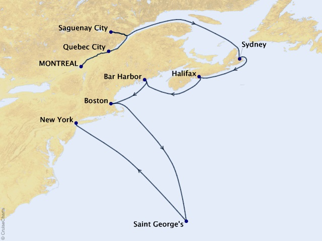 12-night Harvest in Halifax Cruise Map