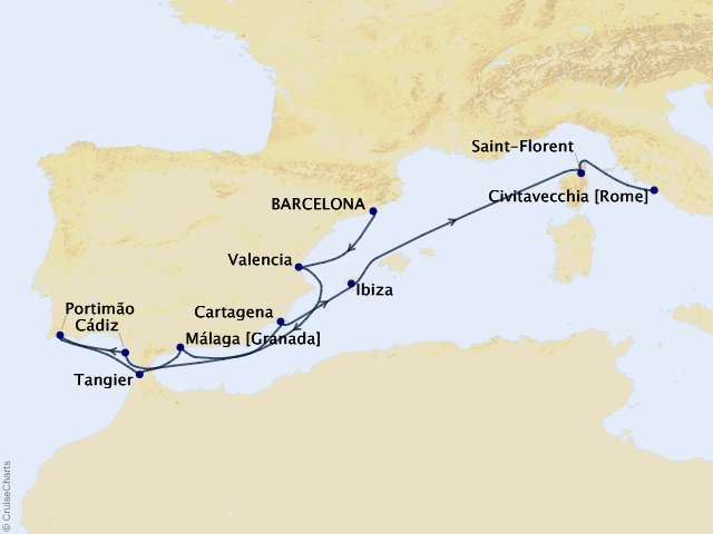 11-night Spanish Autumn & Morocco Cruise Map