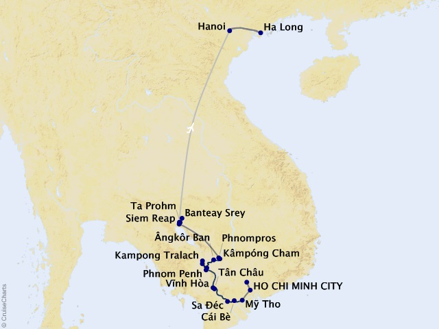 15-night Charms of the Mekong Cruise/Land Package Map