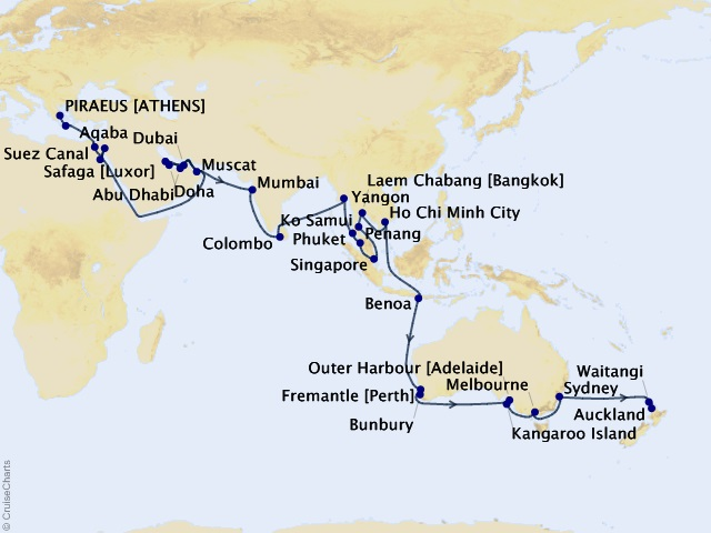 71-night Grand Journey – Athens to Auckland Odyssey Cruise Map