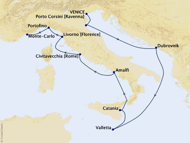 10-night Italy & The Ionian Voyage Map