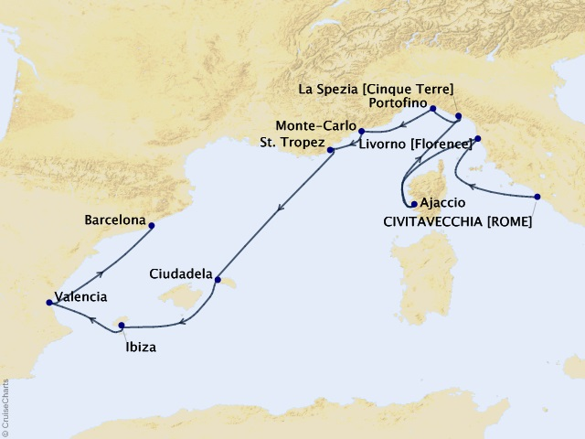 10-night Mediterranean Gallery Voyage Map