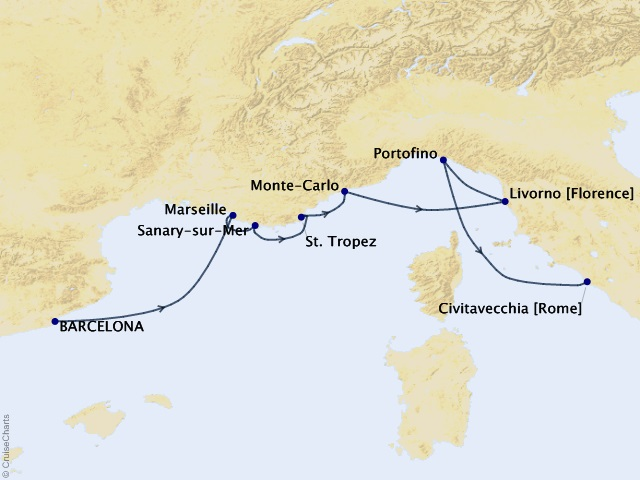 7-night Rivieras and Harbors Voyage Map