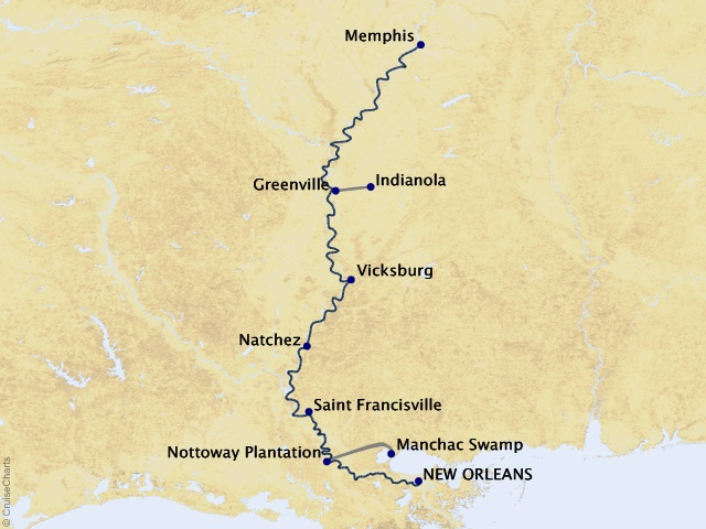 10-night Life on the Mississippi Cruise/Land Package Map