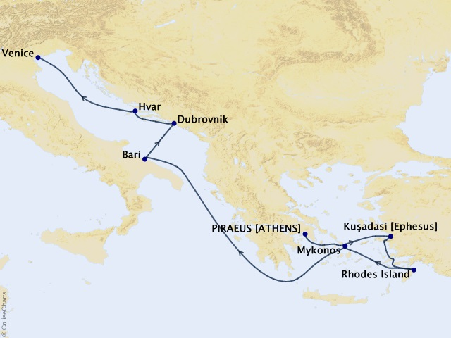 9-night Mediterranean Cruise Map