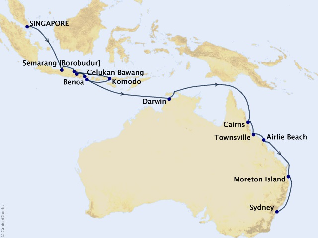 26-night Orchid Isles and Australia Cruise Map